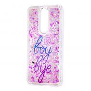 "Чехол для Meizu X8 Блестки вода светло-розовый ""boy bye"""