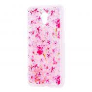 """Чехол для Meizu M5 Note Блестки вода розовый """"розовые цветы"""""""