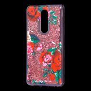 """Чехол для Meizu M8 Note Блестки вода красный """"красные розы"""""""