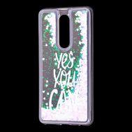 "Чехол для Meizu M8 Note Блестки вода светло-розовый ""yes you can"""