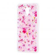 """Чехол для Meizu M6s Блестки вода розовый """"розовые цветы"""""""