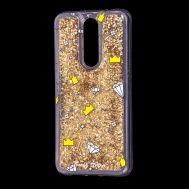 """Чехол для Meizu X8 Блестки вода золотистый """"корона и бриллиант"""""""
