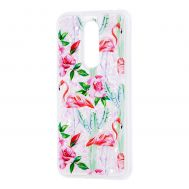 """Чехол для Meizu M6T Блестки вода светло-розовый """"фламинго и кактусы"""""""