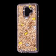 """Чехол для Samsung Galaxy A6 2018 (A600) Блестки вода золотистый """"корона и бриллиант"""""""