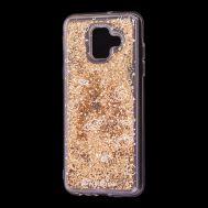 """Чехол для Samsung Galaxy A6 2018 (A600) Блестки вода золотистый """"пространство"""""""