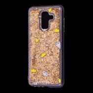 "Чехол для Samsung Galaxy A6+ 2018 (A605) Блестки вода золото ""корона и бриллиант"""