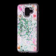 """Чехол для Samsung Galaxy A6 2018 (A600) Блестки вода светло-розовый """"цветущие уголки"""""""