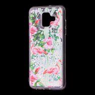 """Чехол для Samsung Galaxy A6 2018 (A600) вода светло-розовый """"фламинго и кактусы"""""""