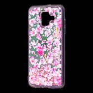 """Чехол для Samsung Galaxy A6 2018 (A600) Блестки вода розовый """"розовые цветы"""""""