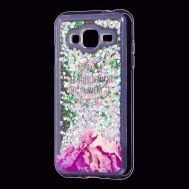 "Чехол для Samsung Galaxy J3 2016 (J320) Блестки вода Fashion ""Happy"""