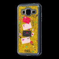 "Чехол для Samsung Galaxy J3 2016 (J320) Блестки вода Fashion золотистый ""Хохо"""