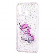 """Чехол для Samsung Galaxy M20 (M205) жидкие блестки игрушка """"единорог"""""""