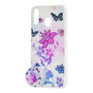 "Чехол для Samsung Galaxy M20 (M205) силикон + popsocket ""бабочки"""