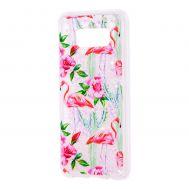 """Чехол для Samsung Galaxy S8+ (G955) Блестки вода светло-розовый """"фламинго и кактусы"""""""