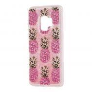 """Чехол для Samsung Galaxy S9 (G960) Блестки вода розовый """"ананас"""""""