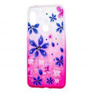 "Чехол для Xiaomi Redmi Note 6 Pro Glamour ambre розовый ""цветы"""