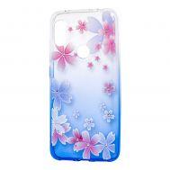 "Чехол для Xiaomi Redmi Note 6 Pro Glamour ambre синий ""цветы"""