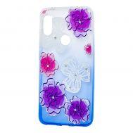 """Чехол для Xiaomi Redmi Note 6 Pro Glamour ambre фиолетовые """"цветы"""""""