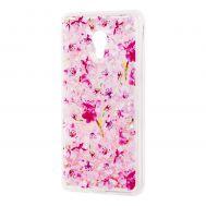 """Чехол для Meizu M5s Блестки вода розовый """"розовые цветы"""""""