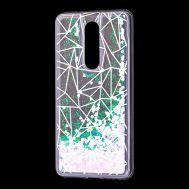 """Чехол для Meizu M8 Note Блестки вода светло-розовый """"геометрия"""""""