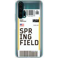Силиконовый чехол BoxFace Huawei Honor 20 Pro Ticket Springfield (38273-cc93)