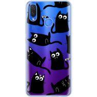 Силиконовый чехол BoxFace Huawei P Smart Plus с 3D-глазками Black Kitty (34975-cc73)