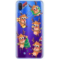 Силиконовый чехол BoxFace Huawei P Smart Plus с 3D-глазками Reindeer (34975-cc74)