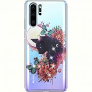 Силиконовый чехол BoxFace Huawei P30 Pro Cat in Flowers (936856-rs10)