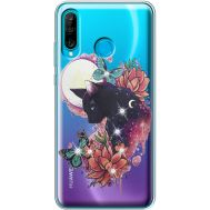 Силиконовый чехол BoxFace Huawei P30 Lite Cat in Flowers (936872-rs10)