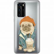 Силиконовый чехол BoxFace Huawei P40 Dog Coffeeman (39747-cc70)