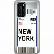 Силиконовый чехол BoxFace Huawei P40 Ticket New York (39747-cc84)