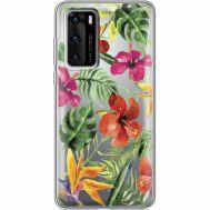 Силиконовый чехол BoxFace Huawei P40 Tropical Flowers (39747-cc43)