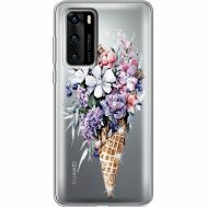 Силиконовый чехол BoxFace Huawei P40 Ice Cream Flowers (939747-rs17)