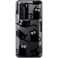 Силиконовый чехол BoxFace Huawei P40 Pro с 3D-глазками Black Kitty (39751-cc73)