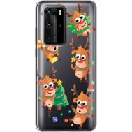 Силиконовый чехол BoxFace Huawei P40 Pro с 3D-глазками Reindeer (39751-cc74)
