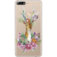 Силиконовый чехол BoxFace Huawei Y7 Prime 2018 Deer with flowers (934966-rs5)