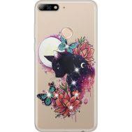 Силиконовый чехол BoxFace Huawei Y7 Prime 2018 Cat in Flowers (934966-rs10)