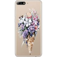 Силиконовый чехол BoxFace Huawei Y7 Prime 2018 Ice Cream Flowers (934966-rs17)