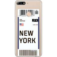 Силиконовый чехол BoxFace Huawei Y7 Prime 2018 Ticket New York (34966-cc84)