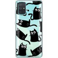 Силиконовый чехол BoxFace Samsung A715 Galaxy A71 с 3D-глазками Black Kitty (38851-cc73)