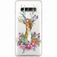 Силиконовый чехол BoxFace Samsung G975 Galaxy S10 Plus Deer with flowers (935881-rs5)