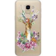 Силиконовый чехол BoxFace Samsung J600 Galaxy J6 2018 Deer with flowers (934979-rs5)