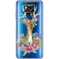 Силиконовый чехол BoxFace Xiaomi Poco X3 Deer with flowers (941290-rs5)