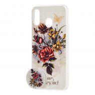 "Чехол для Samsung Galaxy M20 (M205) силикон + popsocket белый ""роза"""