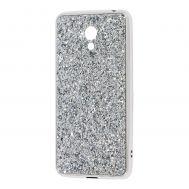 Чехол для Meizu M6 Shining sparkles с блестками серебристый