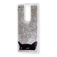 """Чехол для Meizu M8 Note Блестки вода серебристый """"черный кот"""""""