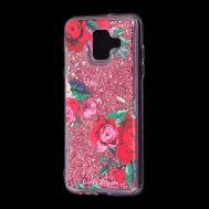 """Чехол для Samsung Galaxy A6 2018 (A600) Блестки вода красный """"красные розы"""""""