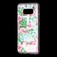 """Чехол для Samsung Galaxy S8 (G950) Блестки вода светло-розовый """"фламинго и кактусы"""""""