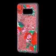"""Чехол для Samsung Galaxy S8 (G950) Блестки вода красный """"красные розы"""""""
