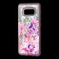 """Чехол для Samsung Galaxy S8 (G950) Блестки вода розовый """"розово-фиолетовые цветы"""""""